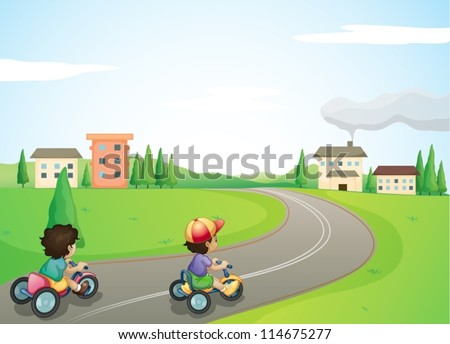 illustration of kids and a road in a beautiful nature