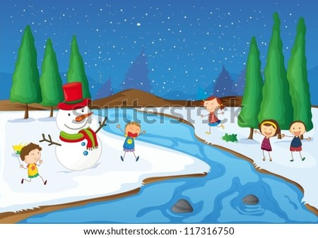 illustration of kids and a snowman playing near a river