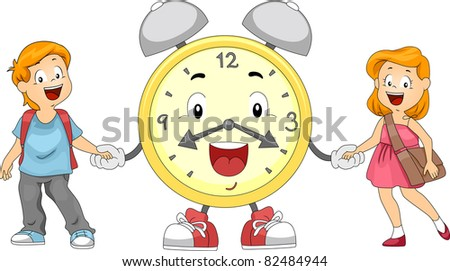 Illustration of Kids and an Alarm Clock Holding Hands