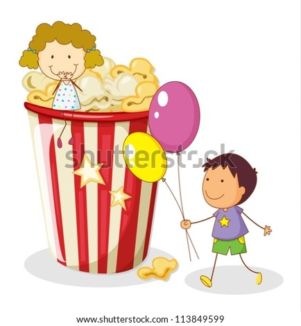 illustration of kids and popcorn on a white background