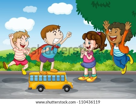 illustration of kids and toy bus in nature