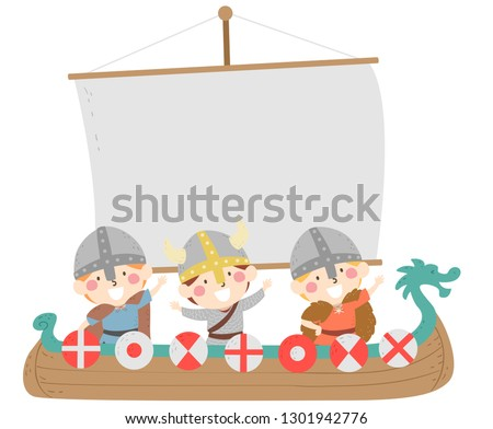 Illustration of Kids Boys Riding a Viking Boat Float with a Blank Flag for Midsummer Festival in Sweden