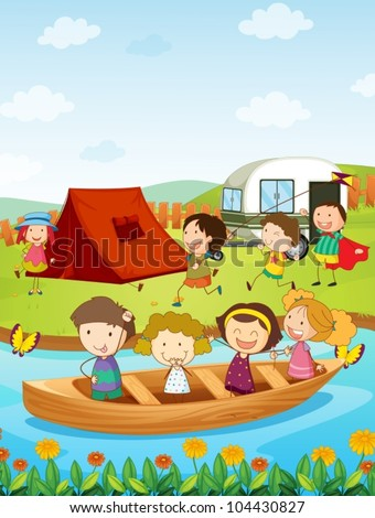 Illustration of kids camping