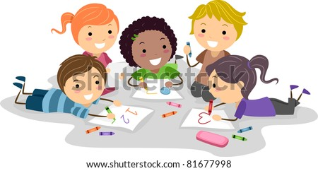 Illustration of Kids Drawing with Crayons