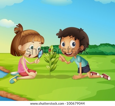 Illustration of 2 kids exploring nature - stock vector