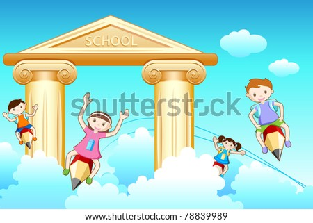 illustration of kids flying on pencil going to school