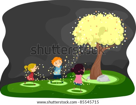 Illustration of Kids Gathered Around a Tree Covered with Fireflies