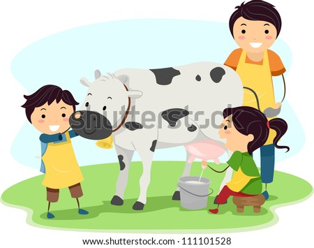 Illustration of Kids Happily Milking a Cow