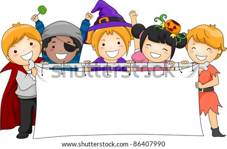 Illustration of Kids Holding a Blank Banner
