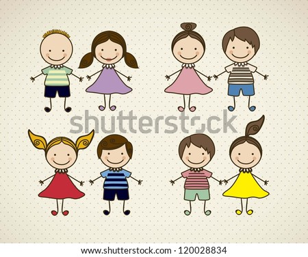 Illustration of kids icons kids groups vector illustration