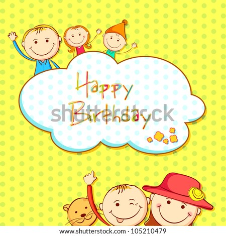 illustration of kids in birthday background with copy space
