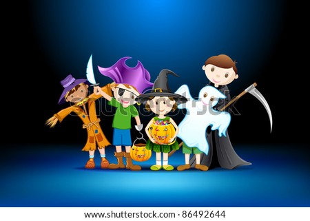 illustration of kids in costume of witch,scarecrow and grim for halloween