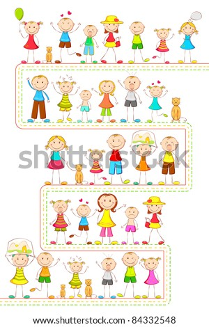 illustration of kids in different mood standing in line