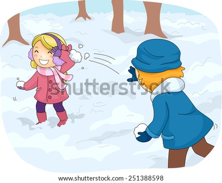 illustration of kids in winter