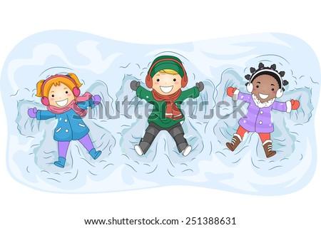 illustration of kids in winter