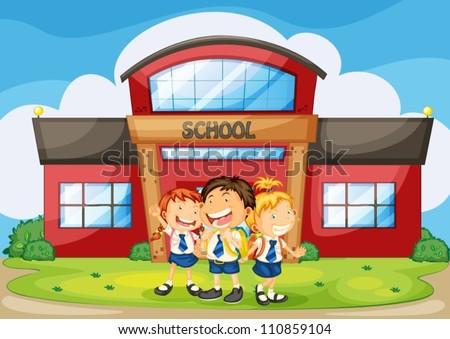 School Drawing Infront of School Building