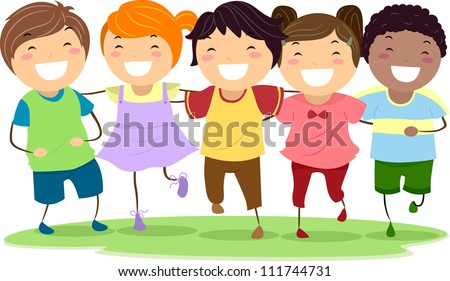 Illustration of Kids Laughing Together While Walking Side by Side