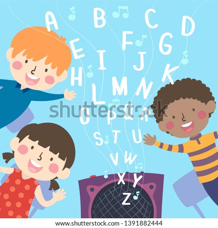 Illustration of Kids Listening to Alphabet Nursery Rhymes Being Played from Speaker Stock photo ©