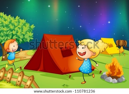 illustration of kids near fire in dark night