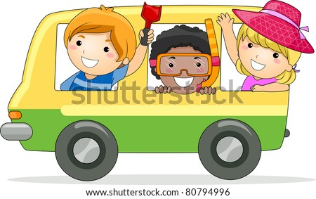 Illustration of Kids on a Summer Trip