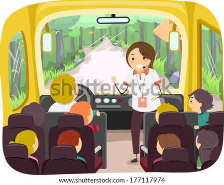 Illustration of Kids on a Tour Bus Listening to Their Tour Guide