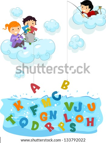 illustration of kids on clouds