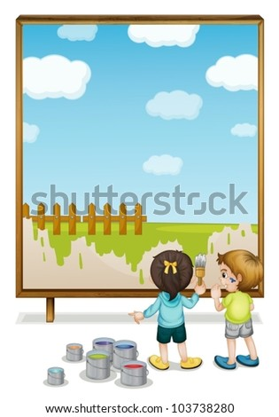Illustration of kids painting a banner