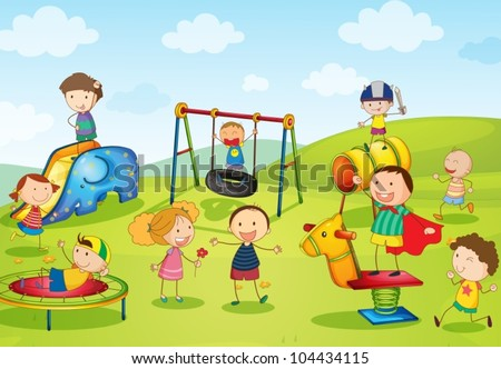 Illustration of kids playing at the park stock vector