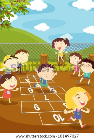 Illustration of kids playing hopscotch in a playground
