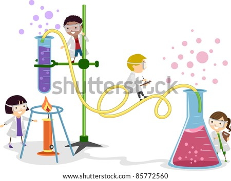 Illustration of Kids Playing in a Laboratory - stock vector