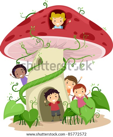 Illustration of Kids Playing in a Mushroom Shaped House