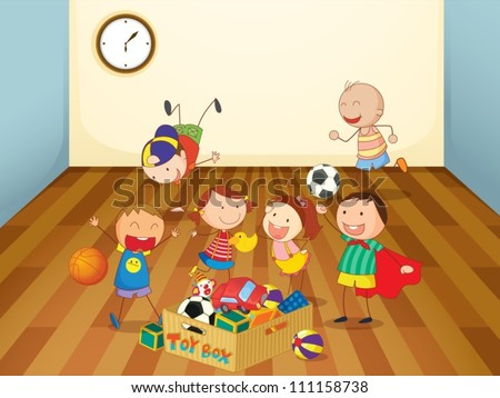 illustration of kids playing in