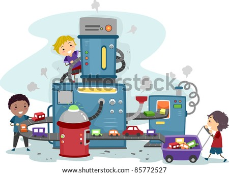 Illustration of Kids Playing in a Toy Car Factory