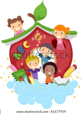 Illustration of Kids Playing in an Apple-Shaped School