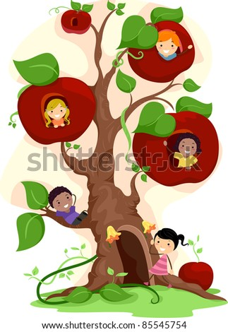 Illustration of Kids Playing in an Apple Tree