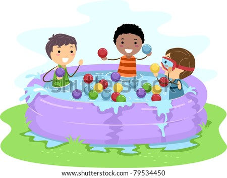 Illustration of Kids Playing in an Inflatable Pool