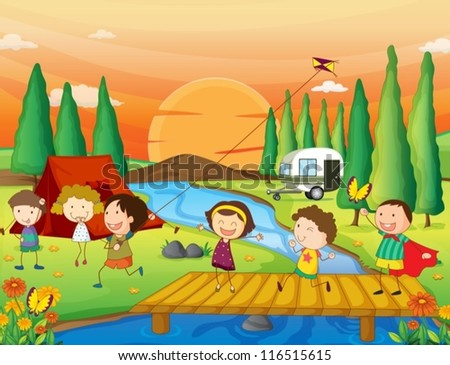illustration of kids playing in beautiful nature