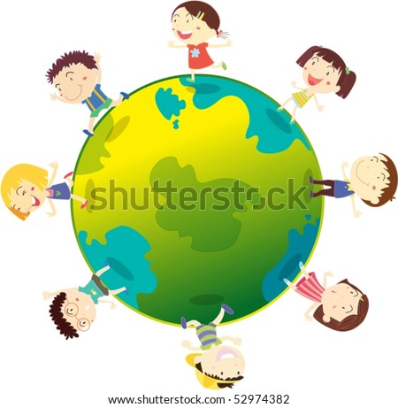 Illustration of kids playing on globe on a white background