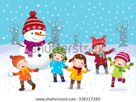 Illustration of kids playing outdoors in winter