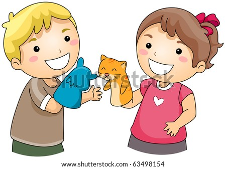 Illustration of Kids Playing with Sock Puppets