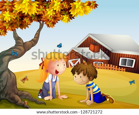 Illustration of kids playing with the butterflies near a big tree