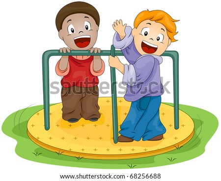 Illustration of Kids Playing with the Merry-go-Round