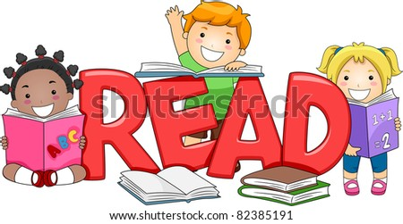 Illustration of Kids Reading Different Books
