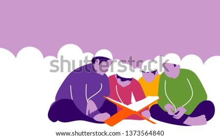 Illustration of Kids Reading Quran The Holy Book of Islam in flat design. ramadan kareem. eid mubarak. Imagine de stoc ©