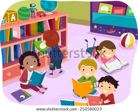 Illustration of Kids Reading Their Choice of Books for Reading Time