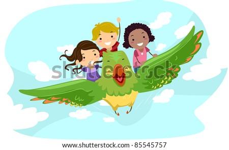 Illustration of Kids Riding a Giant Bird