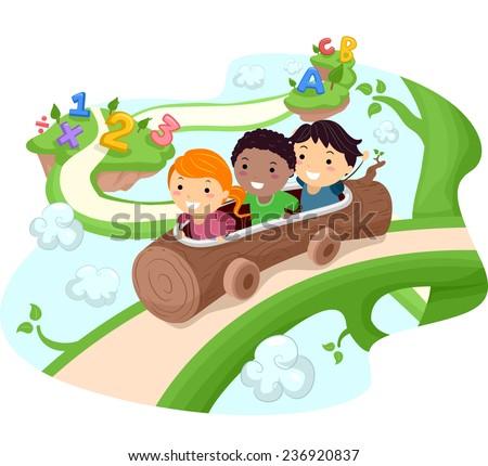 illustration of kids riding a