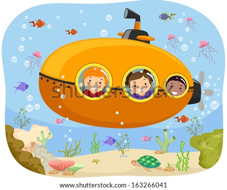 Illustration of Kids Riding a Mini Submarine