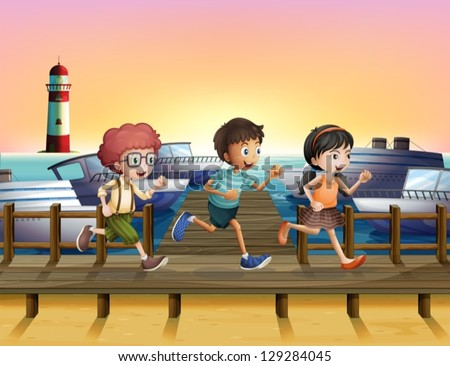 Illustration of kids running at the seaport - stock vector