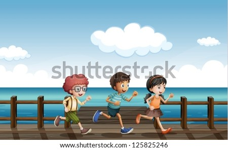 illustration of kids running on